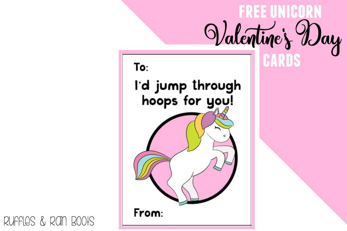 image about Printable Valentines Day Cards for Kids named Absolutely free Unicorn Valentines Working day Playing cards Printable for Children