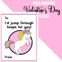 Free Unicorn Valentine's Day Cards Printable for Kids