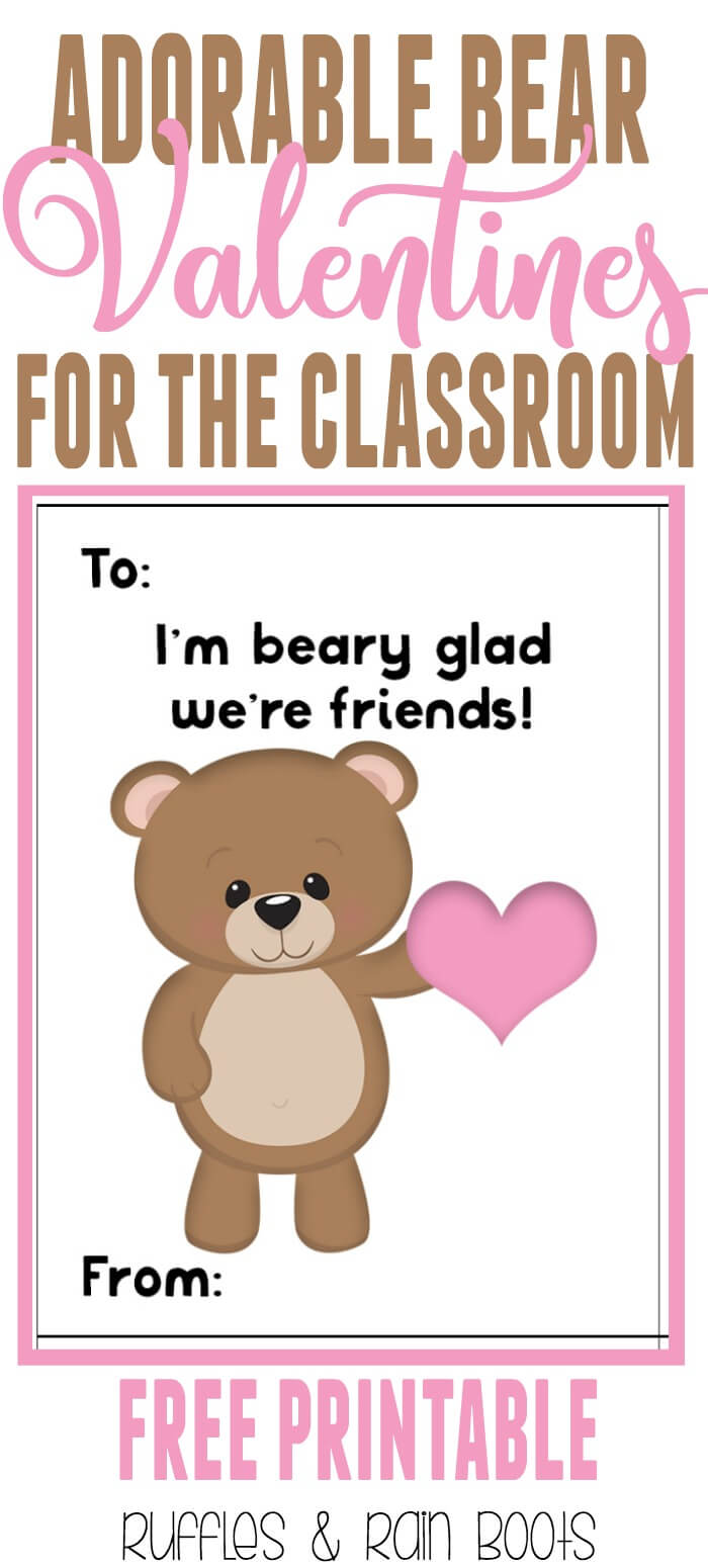 Get these oh, so adorable FREE bear Valentine's Day cards for kids printable. #ValentinesDay #valentines #valentinesforkids #valentinesdayards #bear #woodlandanimal