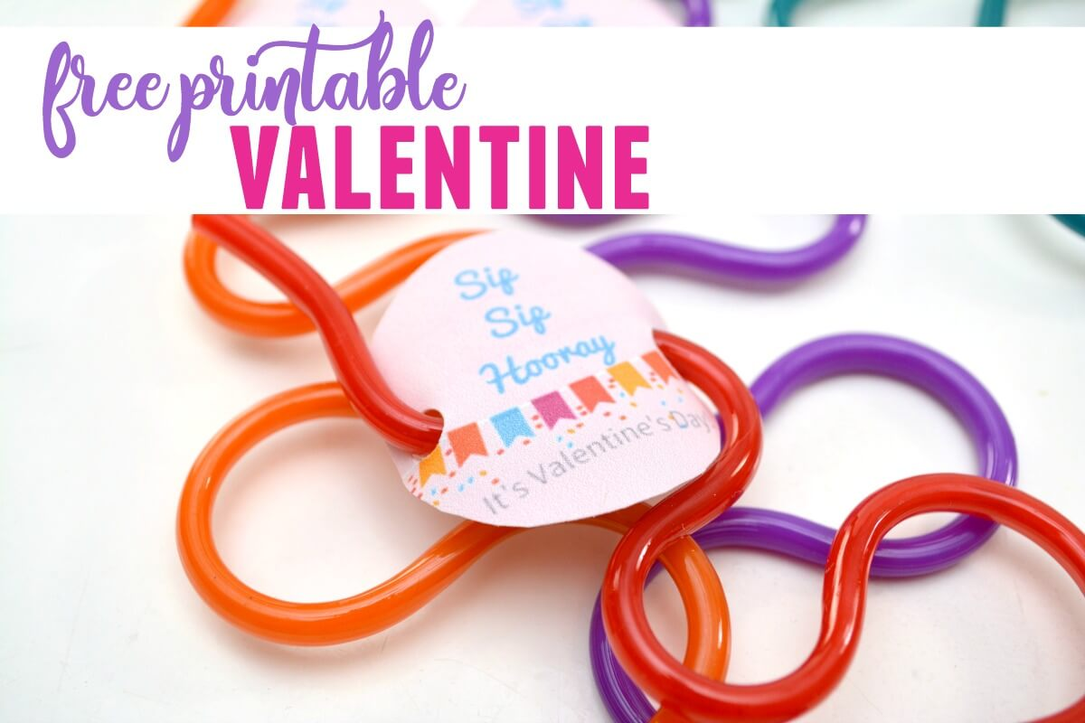 Straw Valentine Printable for non-candy classroom Valentine ideas