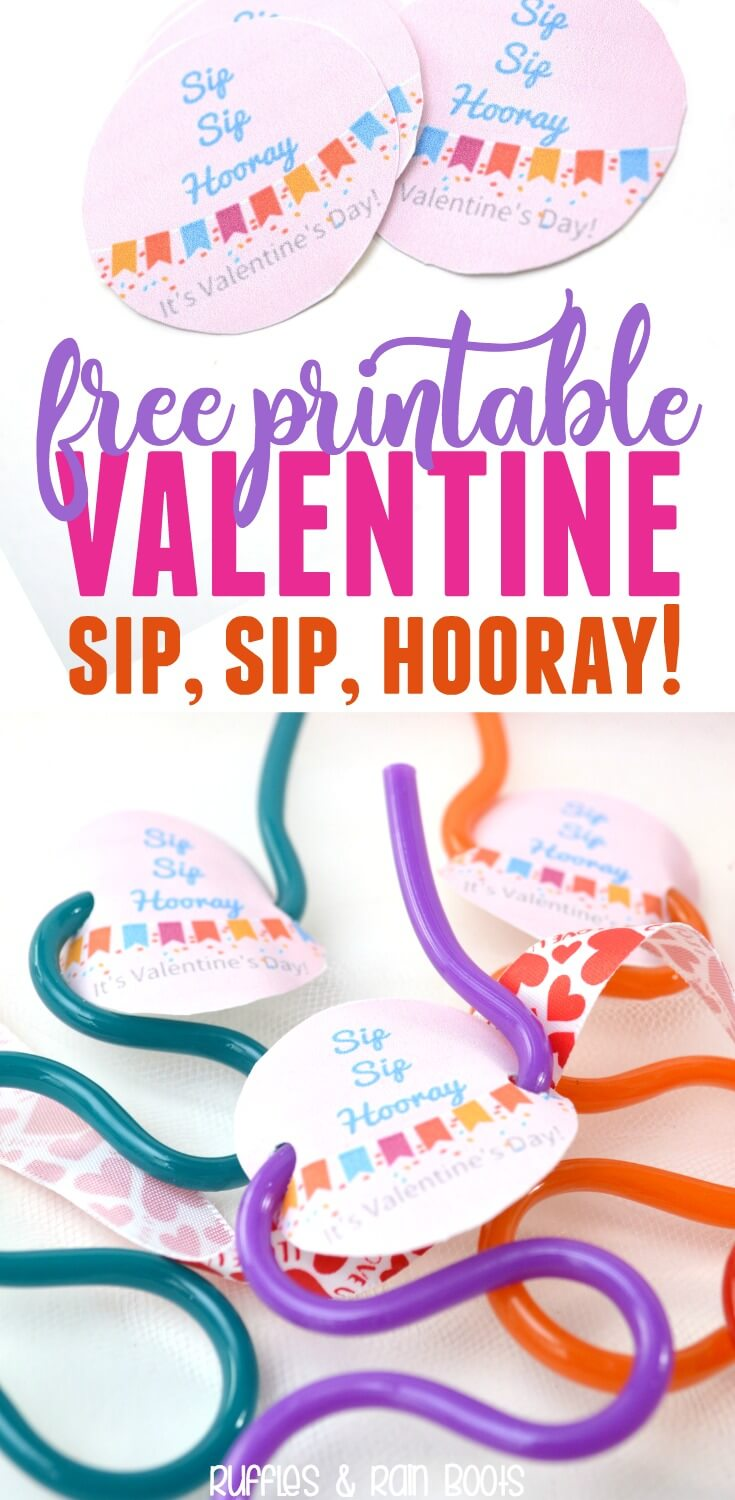 image about Sip Sip Hooray Printable known as Straw Valentine Printable - Non-Sweet Valentine Concept