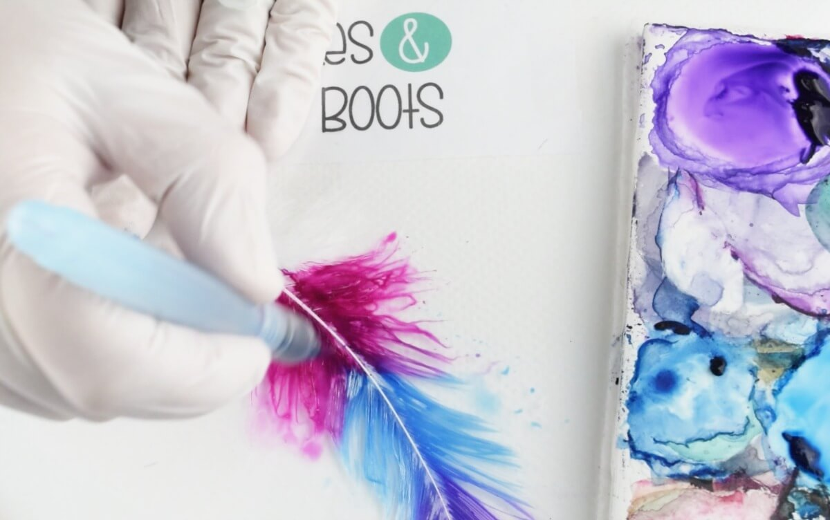paint your feathers using a water brush and watercolors as an alternative to dye