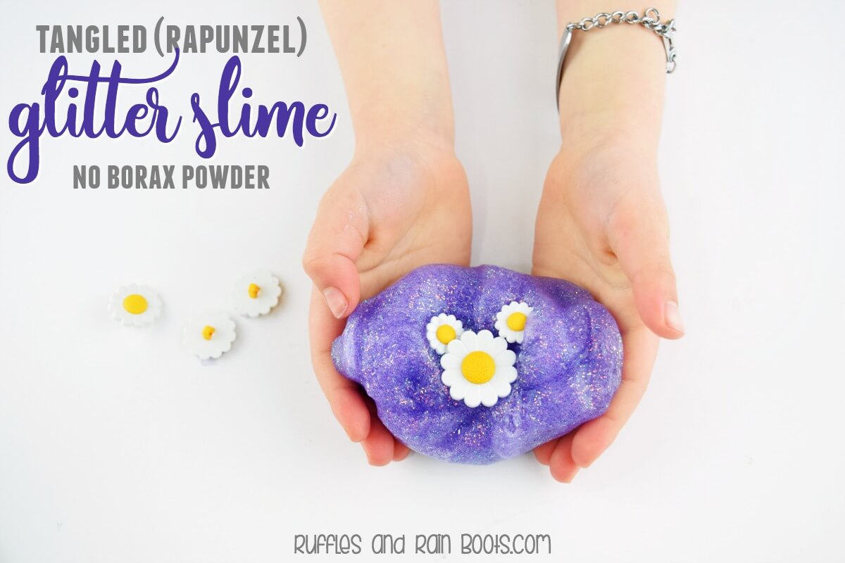 Disney Tangled glitter slime - this purple glitter slime is quick and easy, using only 3 ingredients. It does not contain Borax Powder. #slime #glitterslime #tangled #rapunzel