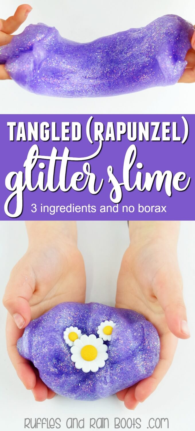 This Tangled glitter slime recipe uses only 3 ingredients and does not use borax powder. #rapunzel #tangled #slime #glitterslime