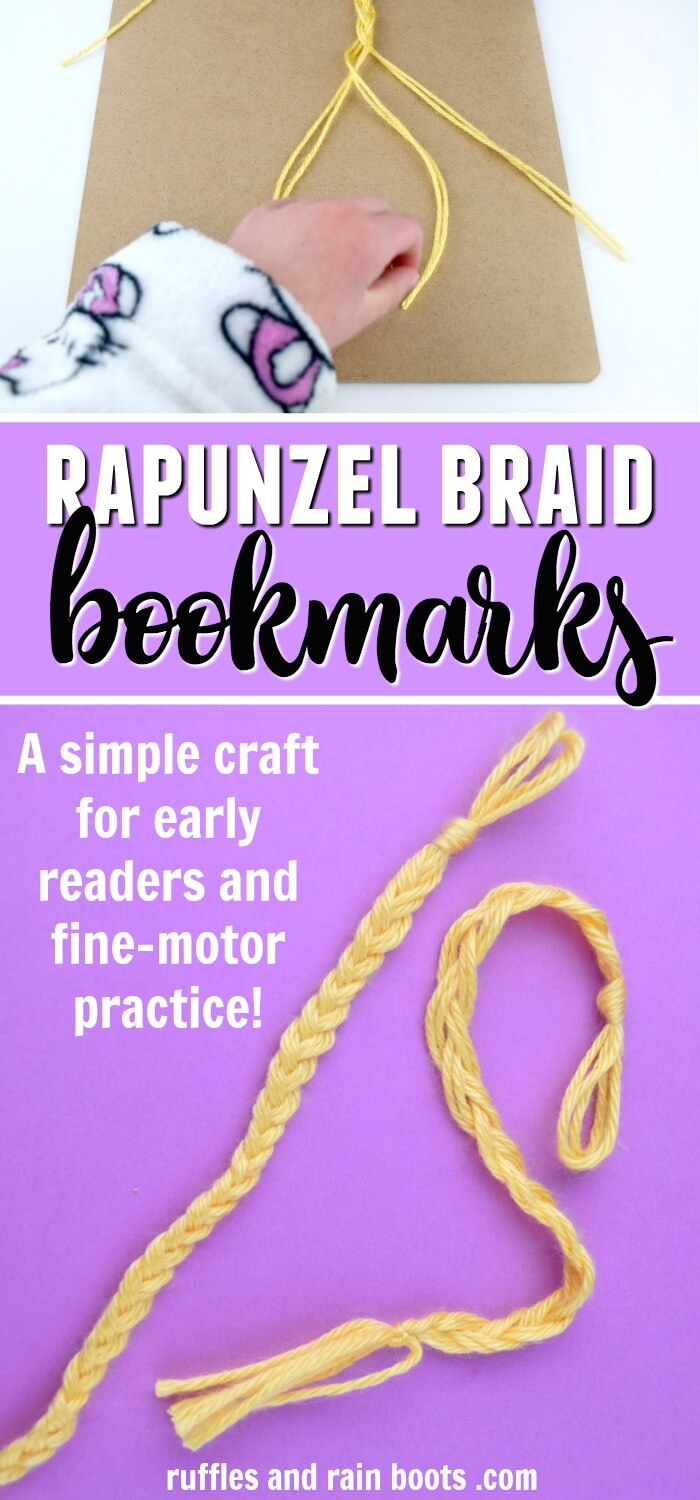 Make the Rapunzel braid bookmark for a fun Tangled movie craft. Early readers and those learning to braid will have fun with this easy craft. #rapunzel #tangled #braid