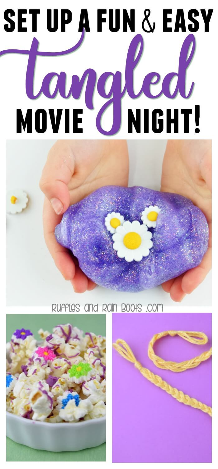 Set up a quick and easy Tangled movie night for your Rapunzel fan. From crafts to a sweet, simple treat, there's fun for everyone. #tangled #rapunzel #rapunzelcrafts