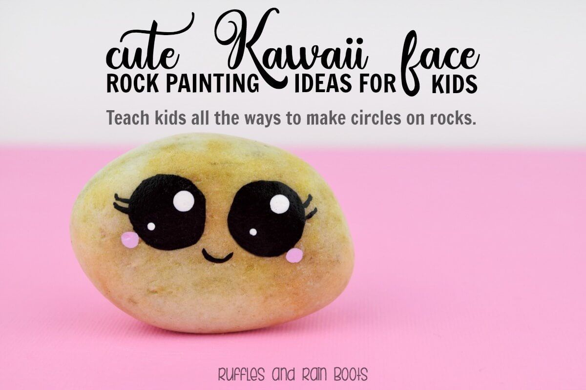 Rock Painting circles with Kawaii faces