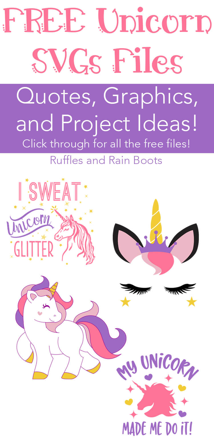 Get these 100 percent FREE unicorn SVG graphics files for crafts, gifts, and more! #unicorn #freeSVG