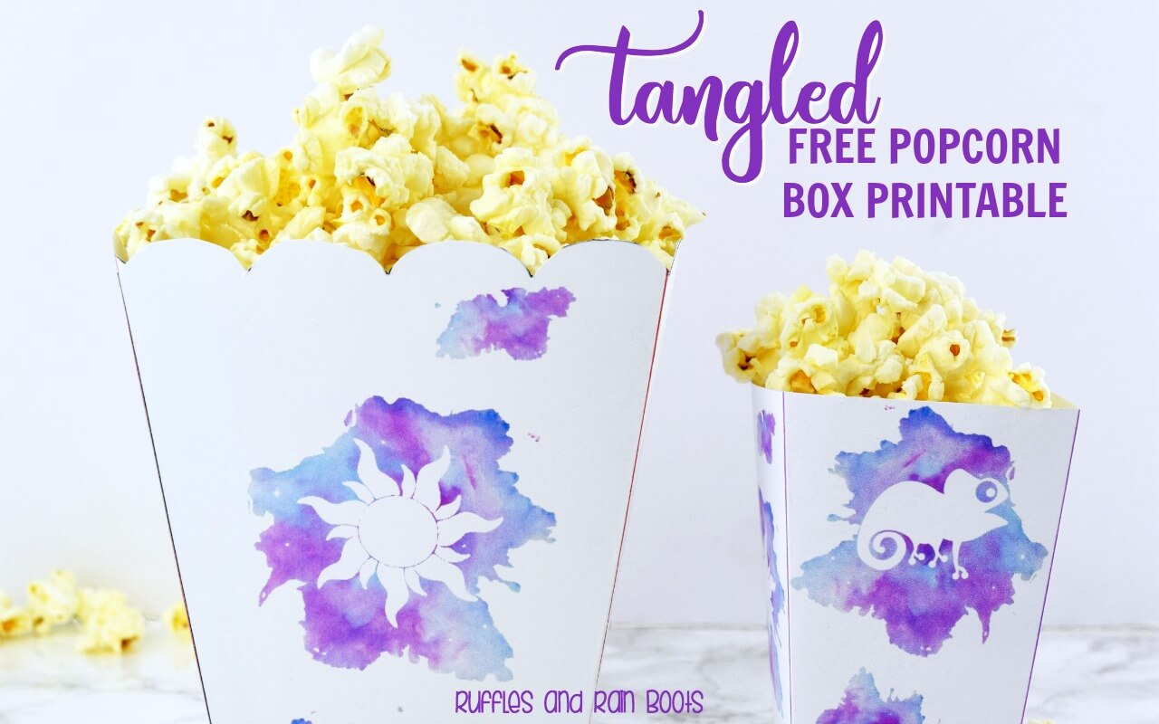Free popcorn box printable Rapunzel Tangled movie night