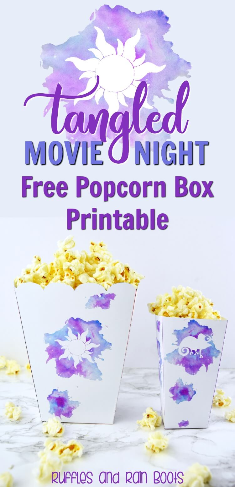 graphic about Rapunzel Printable named Tangled Popcorn Box Printable