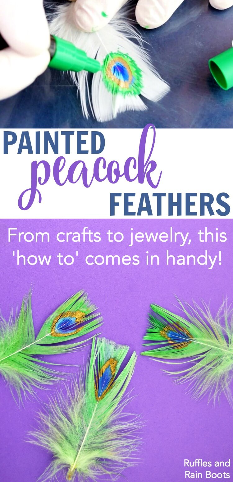 Learn how to paint peacock feathers with paint pens and blend so that they are soft, fluffy, and ready for crafting. #painting #feather