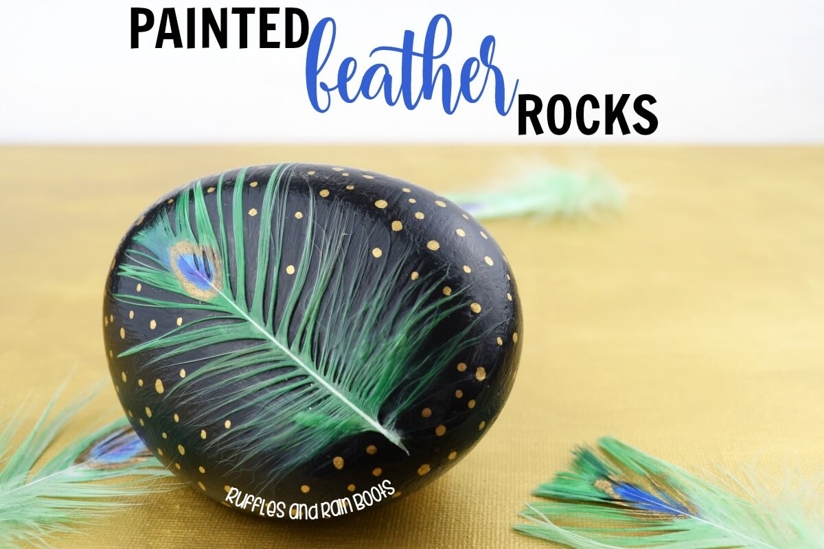 Painted Feather Rocks Rock Painting Ideas