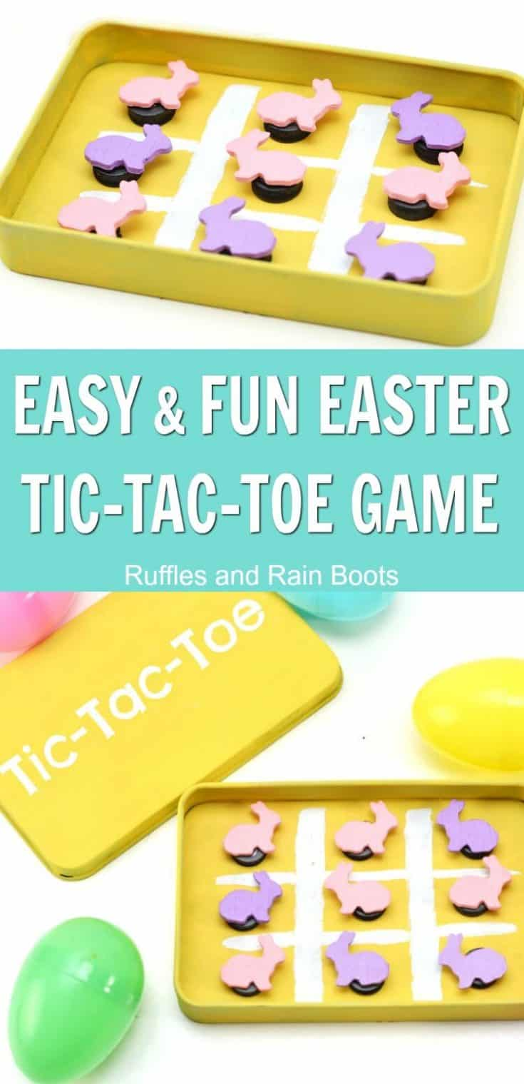 This adorable Easter tic-tac-toe magnetic game uses an empty Altoid tin or candy tin, making it a great recycling craft! It's a quick craft to make and is perfect for road trips is a great Easter basket idea. #altoidtin #easter #eastercraft #rufflesandrainboots
