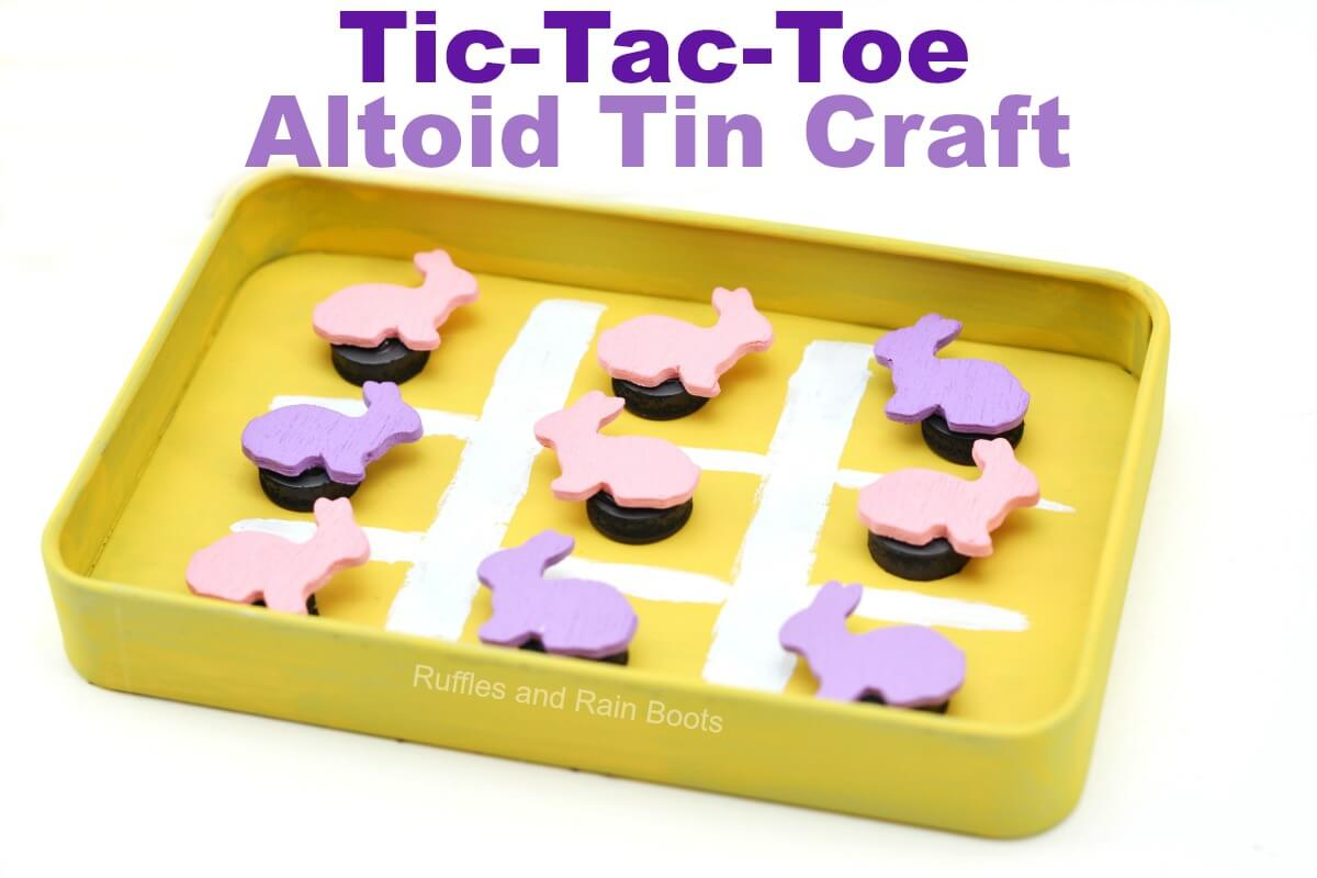 This adorable Easter tic-tac-toe magnetic game uses an empty Altoid tin or candy tin, making it a great recycling craft! It's a quick craft to make and is perfect for road trips is a great Easter basket idea.
