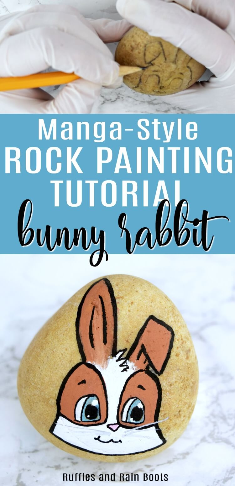 This bunny rock painting tutorial will walk you through how to make this adorable Manga style rabbit on a rock. #rockpainting #rocktutorials #DIYrocks