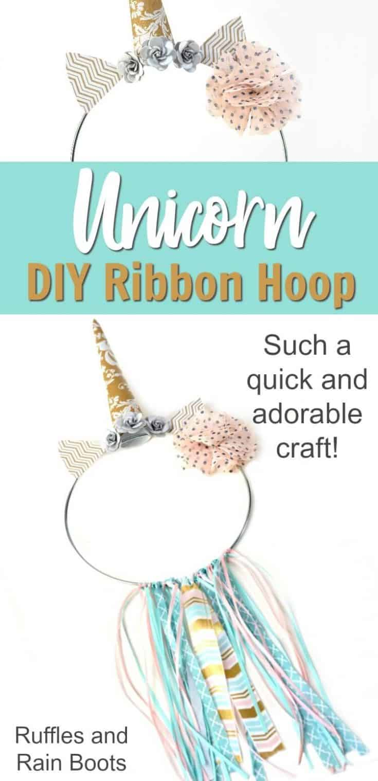 Learn how to make a fun unicorn ribbon hoop. It will be the perfect addition to a little girl's unicorn room or a unicorn party! #unicorn #unicorncraft #unicornbirthday #rufflesandrainboots