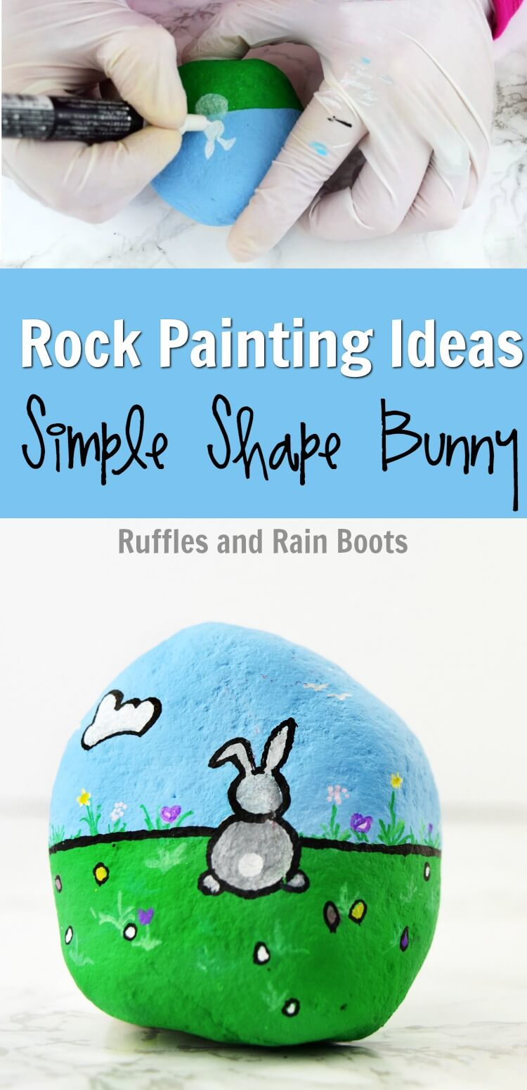 Rock Painting Bunny for Easter - Grab the kids and you can all make this adorable Easter-themed rock painting idea! It uses simple shapes and easy supplies (even for little hands). #rockpainting #rufflesandrainboots #rockpaintingideas