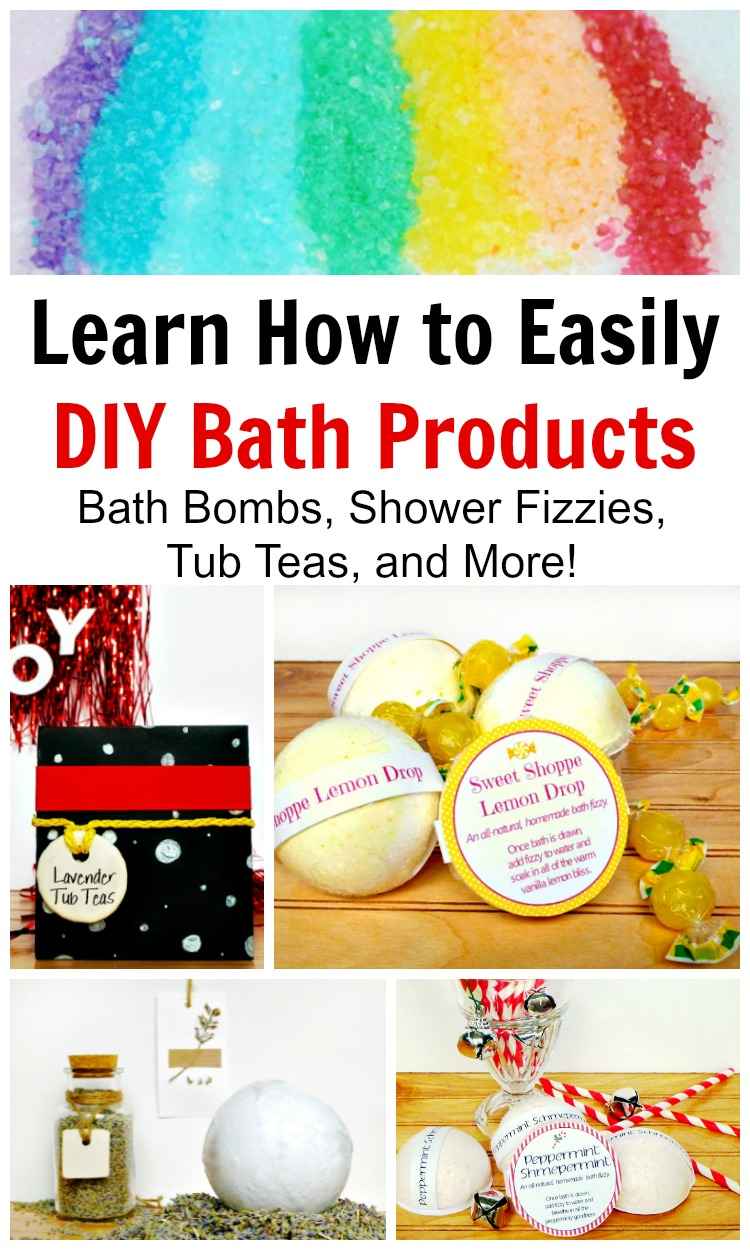 Save money and give amazing gifts by making DIY bath and beauty products. Bath bombs, shower fizzies, and so much more! #rufflesandrainboots #diybeauty #bathbombs