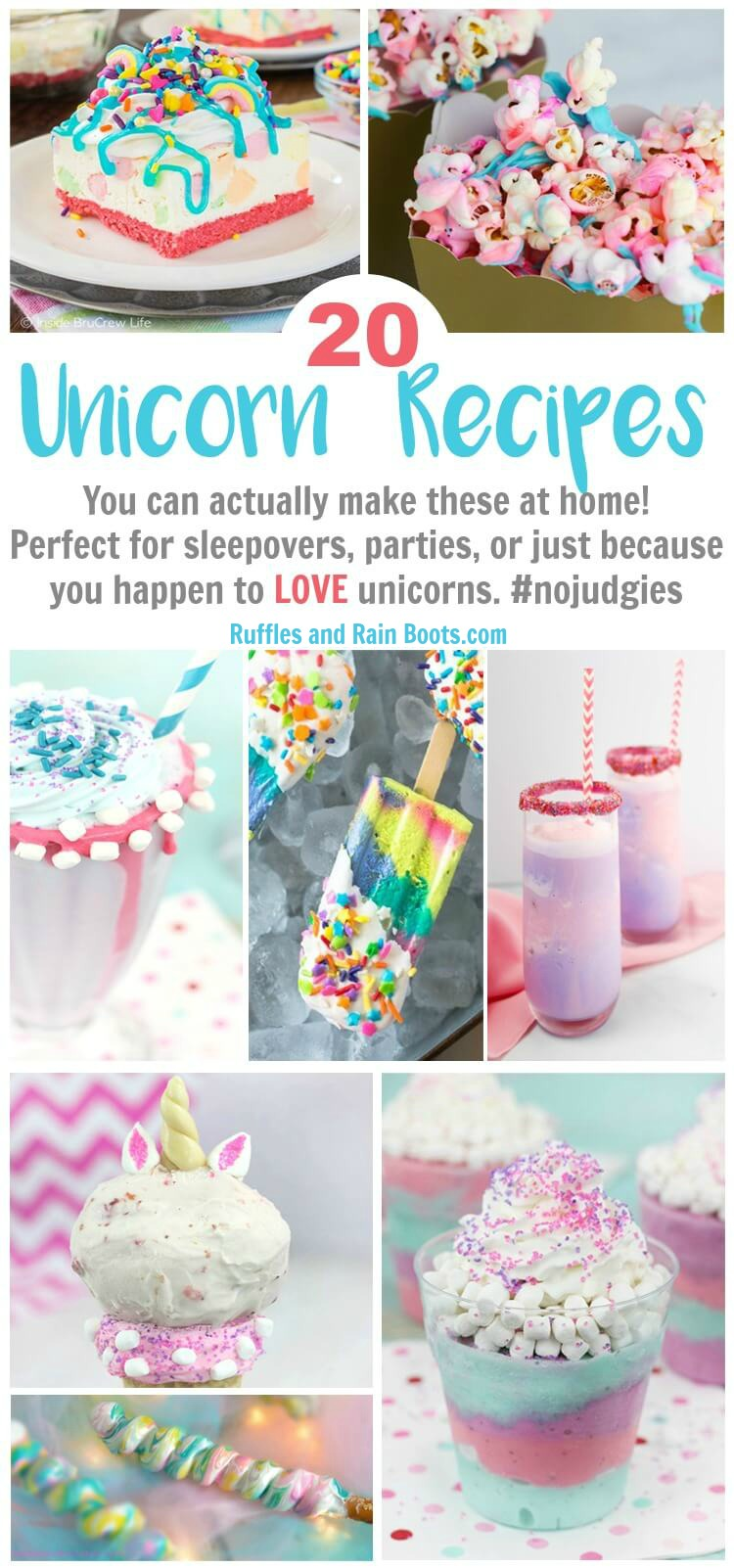 Make one (or all) of these 20 of the best unicorn recipes you can actually make yourself! They're perfect for unicorn lovers, birthdays, or parties. #unicorn #unicornparty