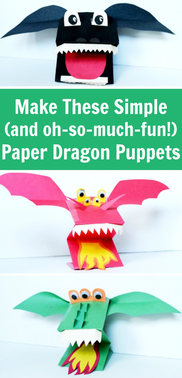 Make this fun paper puppet craft - paper dragon puppets! They're great for kids, classrooms, and rainy days. #dragons #puppets #rufflesandrainboots