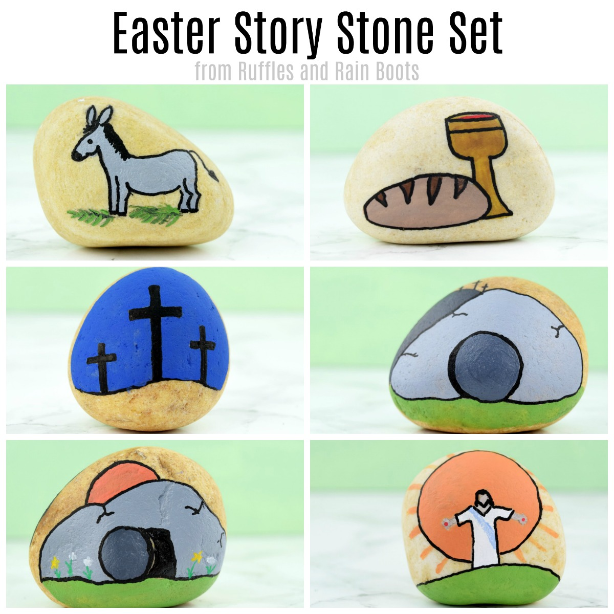You can make this easy Easter story stone set in minutes for a wonderful way to teach and tell the story of Easter #rockpainting #paintedrocks #rockart #artrocks #rufflesandrainboots #easter #storystones