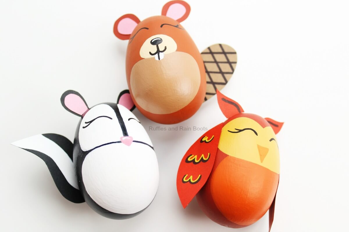 Easy Easter painting craft Woodland Animal Easter Eggs