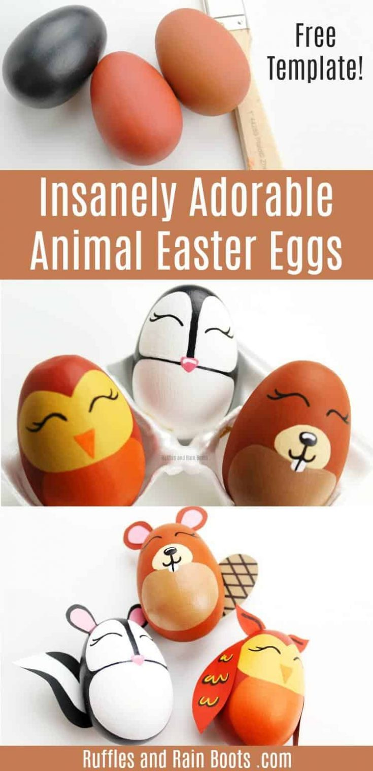 Make these adorable woodland animal Easter eggs for decor or ornaments for an Easter tree. Free template and no artistic talent needed! #Easter #Easterdecor #Eastereggideas #animalEastereggs #animaleggs #rufflesandrainboots