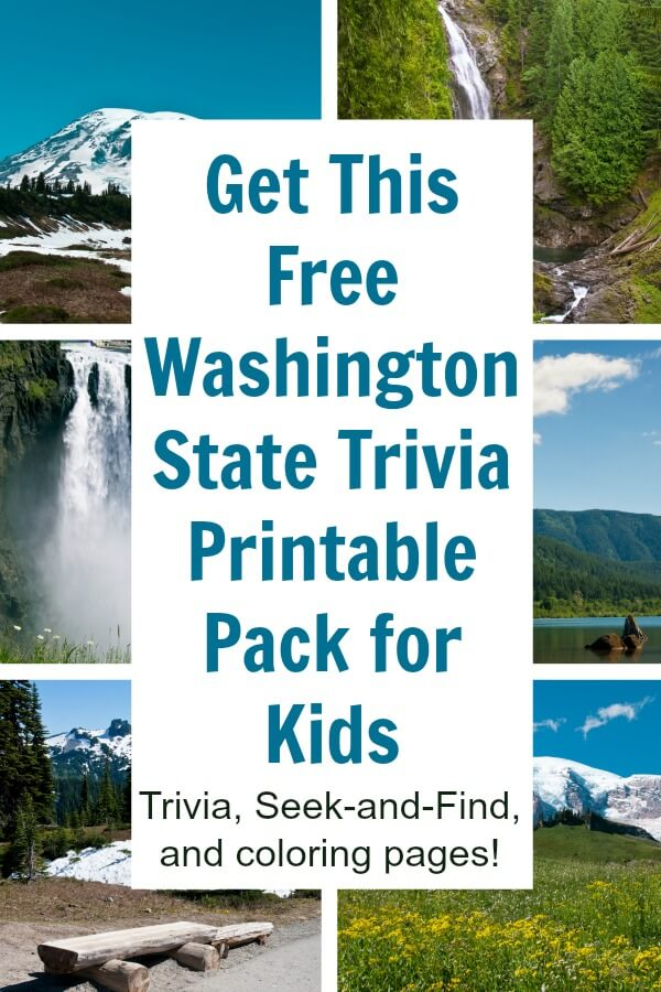 Take this Washington state trivia pack on your next road trip or vacation to the Evergreen state. The free printable includes 10 fun facts about Washington, 2 coloring pages, and a Seek and Find game! #washington #evergreen #wa #Seattle #washingtontravel #rufflesandrainbotos