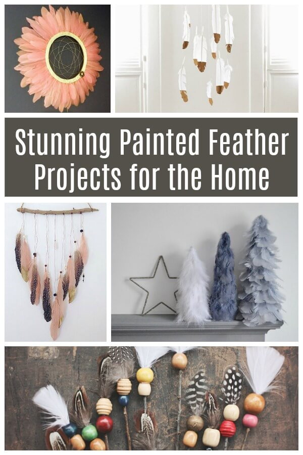 Look at these stunning painted feather projects for the home - amazing natural trend elements inside! And a few are ridiculously easy! #feather #decor #diydecor #boho #bohemian #paintedfeather #featherpainting #natural #rufflesandrainboots
