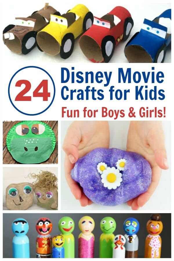 24 of the Cutest Disney Movie Crafts for Family Movie Night - Love it because they have crafts for girls and boys! #Disney #movienight #familymovie #kidcrafts #crafts #rufflesandrainboots