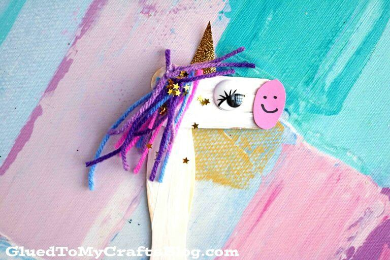 easy unicorn stick puppet for kids