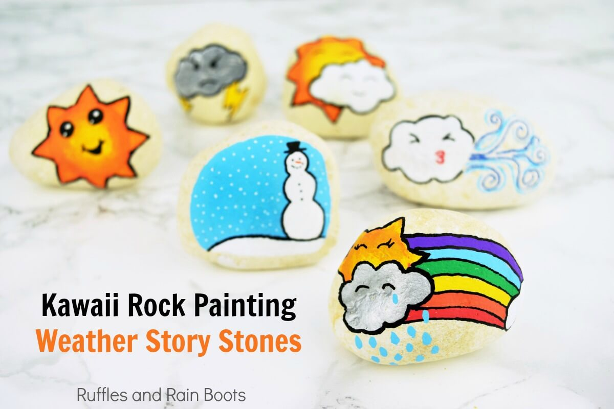 Adorable set of Kawaii weather story stones - look at those cute Kawaii faces