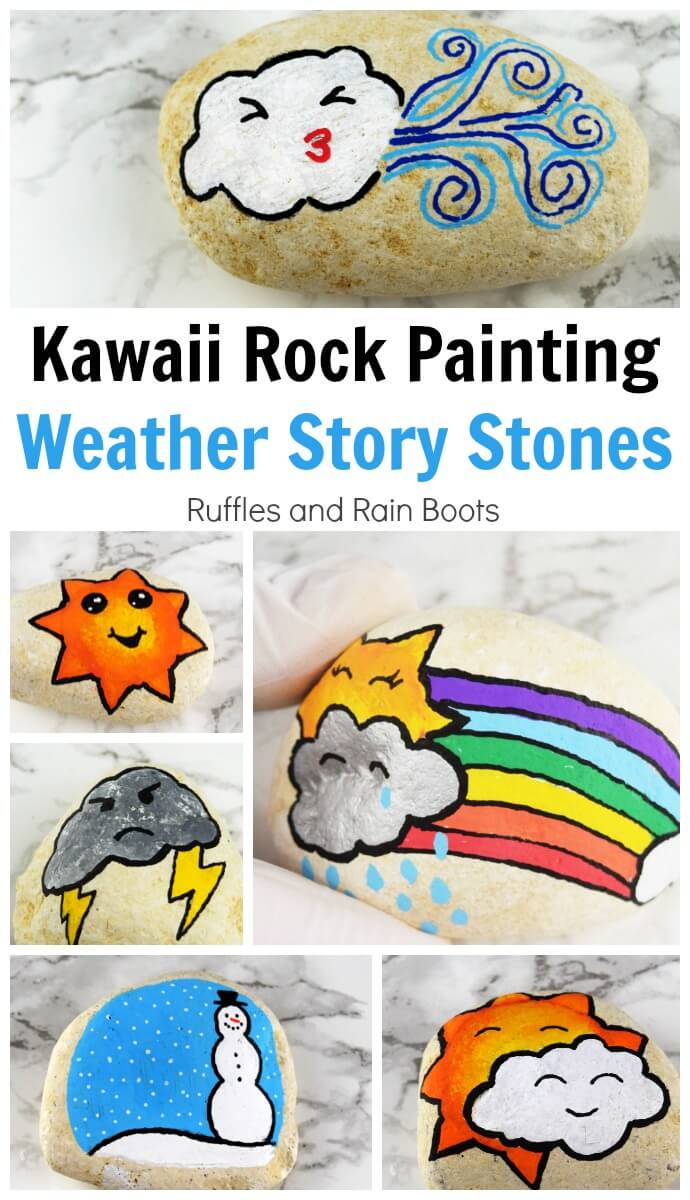You can make these simple Kawaii weather story stones to add to a painted rock collection, help children tell stories, or hide for others to find. #kawaii #rockpainting #rockpainting101 #rockpaintingideas #paintedpebbles #paintedrocks #rufflesandrainboots #storystones