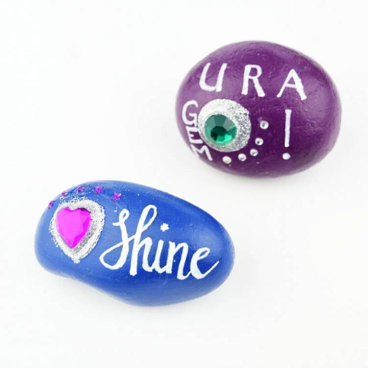 Painted Rocks with Gems - Rock Painting Ideas for Kids