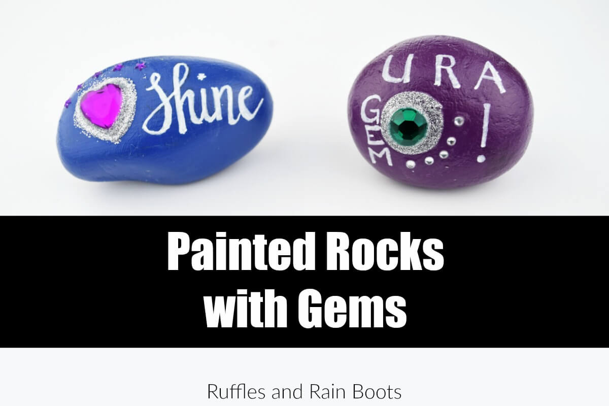 Make this quick rock painting idea for kids - painted rocks with gems! They make awesome kindness rocks.