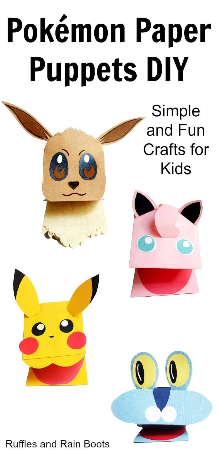 Make these adorable Pokemon paper puppets. It's such a quick, easy, and fun craft for kids and fans of Pokemon! #pokemon #pokemonnation #pokemongo #pikachu #eevee #eeveeevolutions #froakie #jigglypuff #papercrafts #puppets #diytoys #rufflesandrainboots