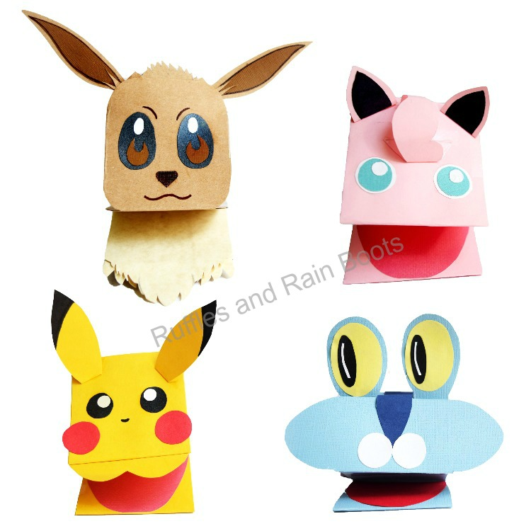 Pokemon Paper Puppets Tutorial from Ruffles and Rain Boots #pokemon #puppets #papercrafting #rufflesandrainboots