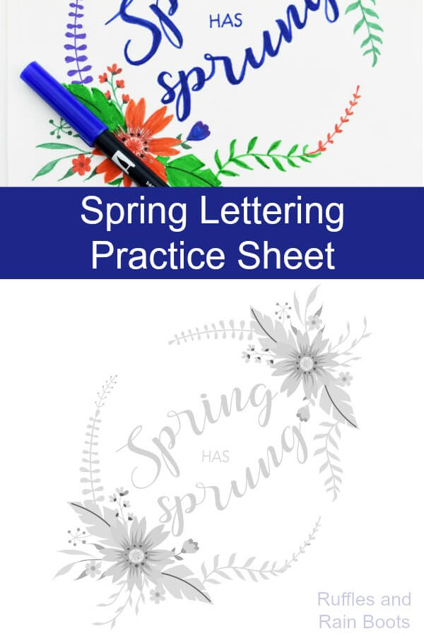 Get this free Spring hand lettering practice sheet in a fun bounce lettering style. It comes with a beautiful Spring bouquet design and is an instant download printable. #handlettering #bouncelettering #lettering #calligraphy #practicesheets #letteringpractice #Springlettering #spring #rufflesandrainboots