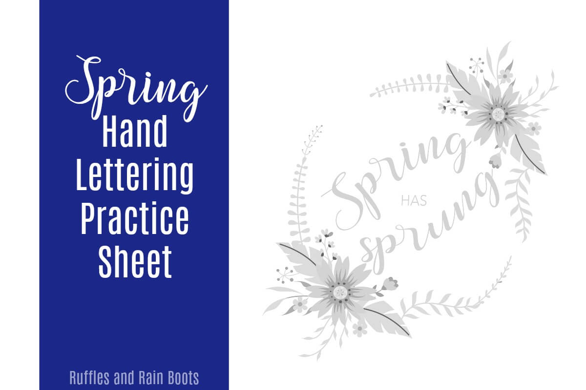 Welcome Spring Spring has Sprung Hand Lettering Practice Sheet in bounce lettering style