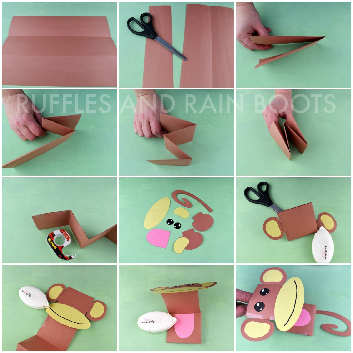 learn how to make a paper puppet monkey elephant tiger