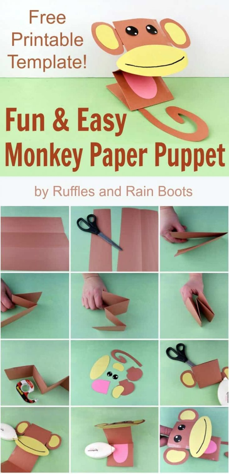 Make this adorable monkey paper puppet for kids using this free printable template. They are so stinking cute! #monkey #papercraft #puppet #paperpuppets #safari #party #rufflesandrainboots