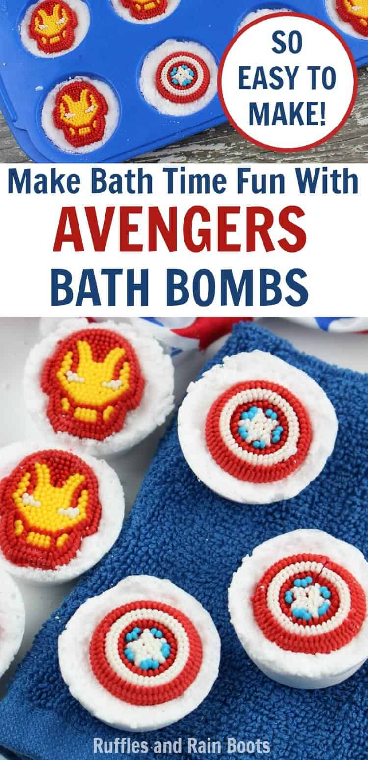 Make these easy Avengers bath bombs for any Disney Avengers fan. It makes a great Avengers craft for kids or adult fans. #Avengers #Disney #Disneycrafts #AvengersInfinityWar #IronMan #CaptainAmerica #Marvel #bathbombs #bathbombsforkids #craftsforkids #rufflesandrainboots