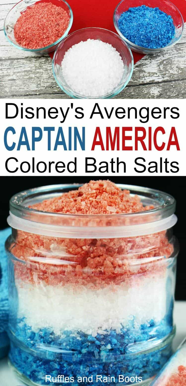 These Captain America bath salts are an easy Disney Marvel Avengers craft for kids to make themselves or to get as a gift. #diybath #avengers #disneycrafts #avengersinfinitywar #avengerscrafts #bathsalts #bathrecipes #bathproducts #bathtime #bathtimefun #bathideas #captainamerica #ironman #bathbombs #rufflesandrainboots