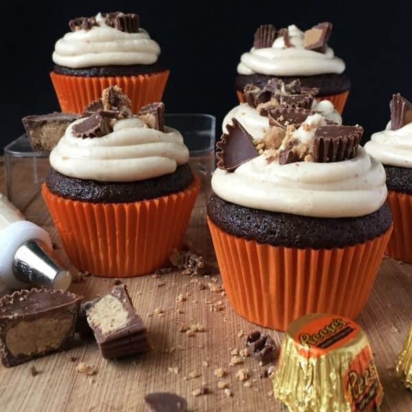 Reese's Peanut Butter Cupcakes with Peanut Butter Buttercream