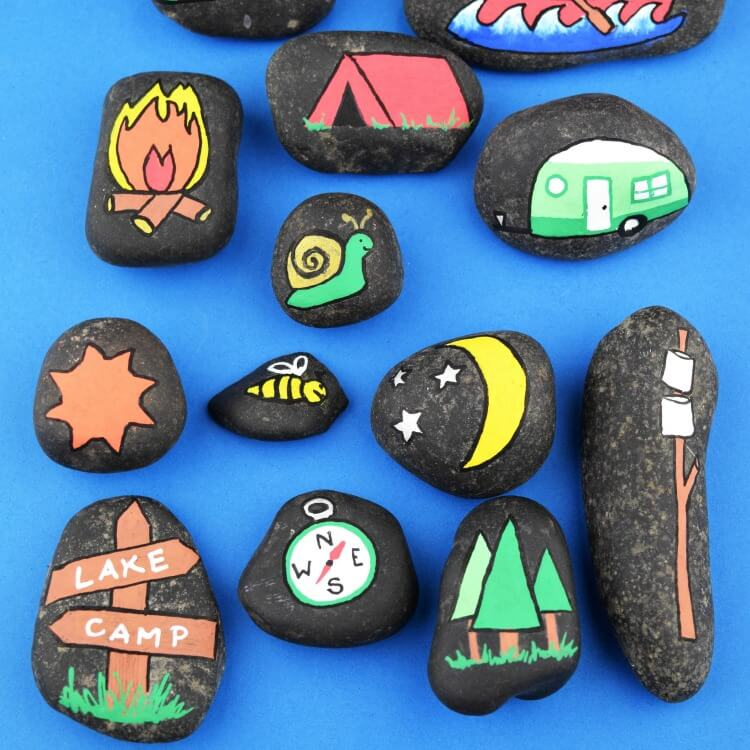 camping story stones for kids campfire games