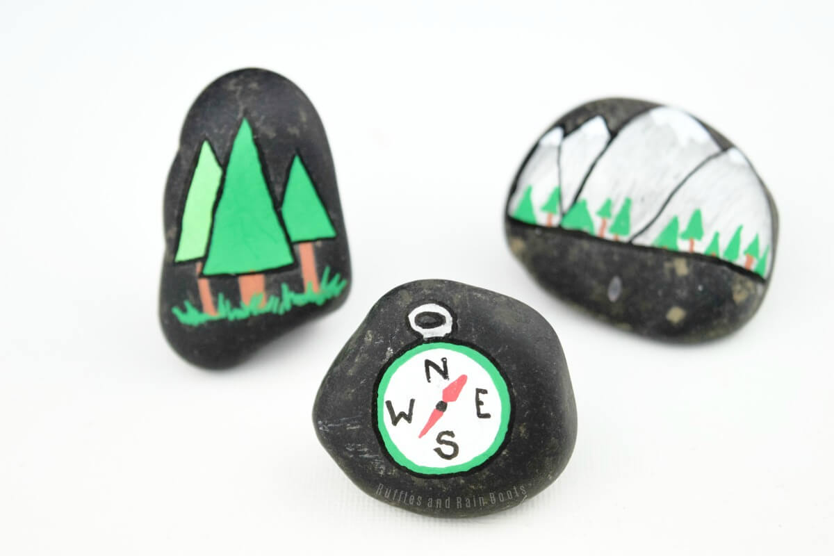 mountain rock painting forest painted rock how to paint rocks
