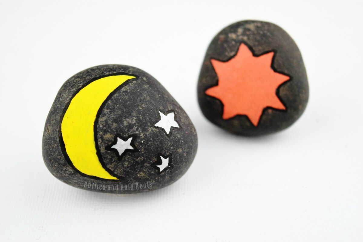 daytime rock painting moon and stars painted rock ideas for kids