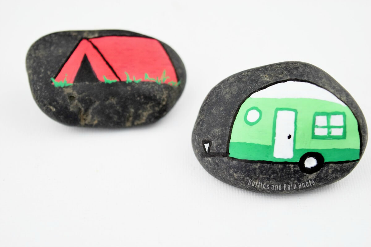 caravan rock painting RV rock tent camping painted rocks