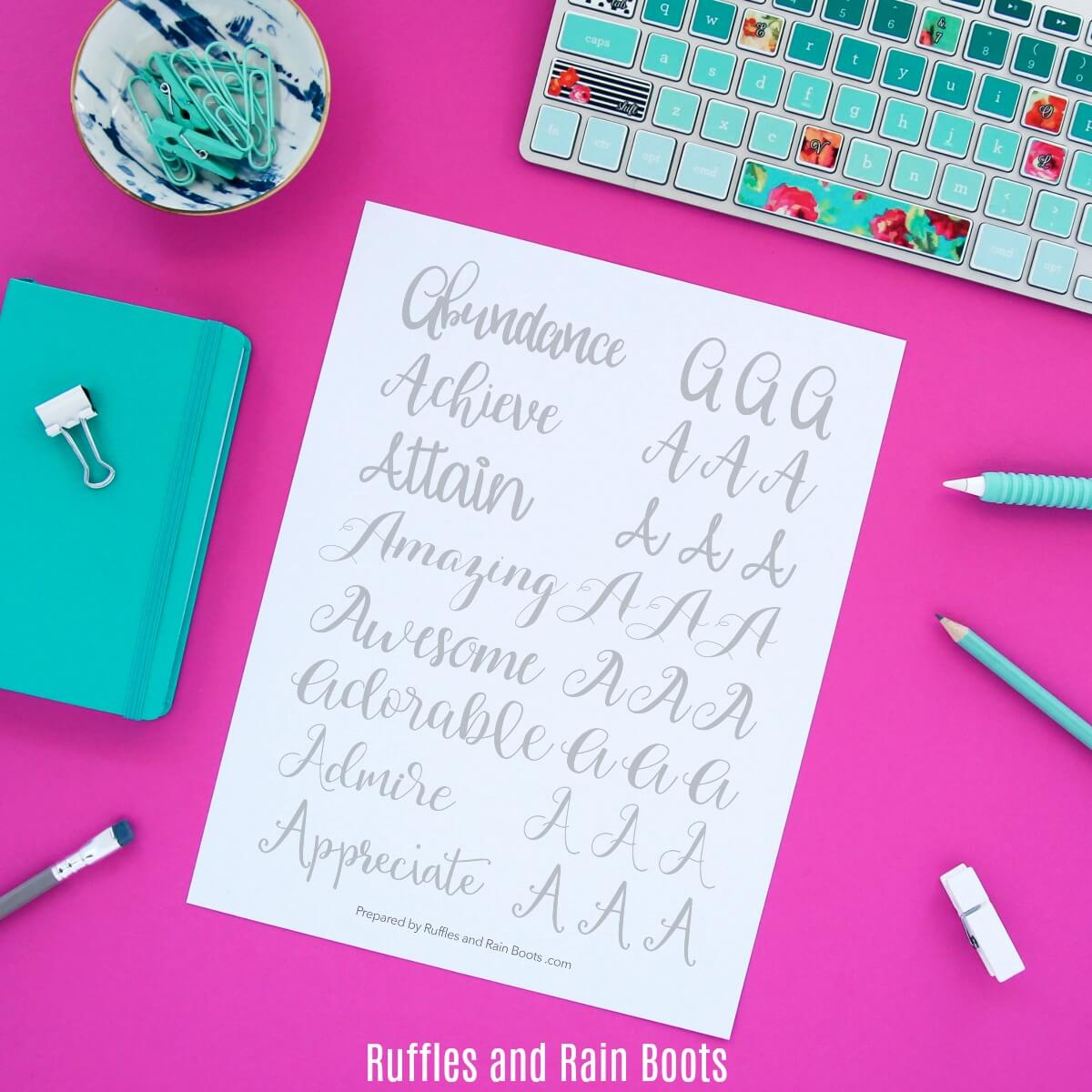 Letter A Free Lettering Practice Sheets