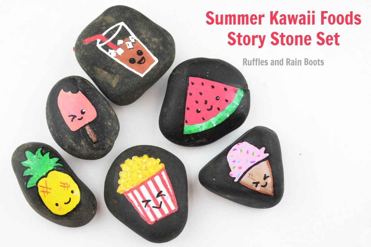 Kawaii Rock Painting Ideas Summer Kawaii Food Story Stones